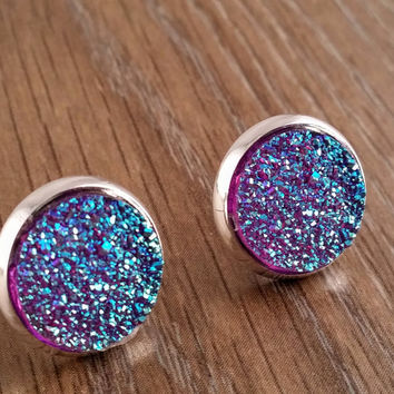 Druzy earrings- deep blue purple drusy silver tone stud druzy earrings