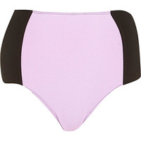 River Island Womens Lime color block high waisted bikini bottoms