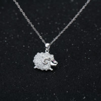 Personalized running sheep 925 sterling silver zircon necklace, a perfect gift !