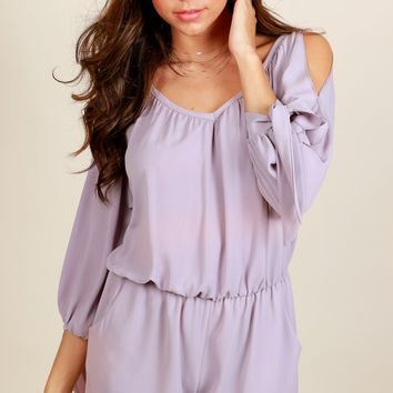 Smiling All Day Open Shoulder Romper Dove Grey