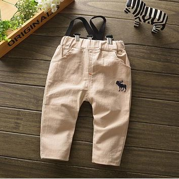 Baby boys Casual Loose Trousers Summer Long Pants Fashion Toddlers deer suspenders pant 0-3T