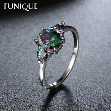 FUNIQUE Mystic Rainbow Fire Opal Rings For Women Jewelry Zircon Cocktail engagement Wedding Rings for Women Silver Color Size 8