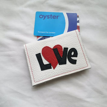 leather card holder, white leather, leather wallet, loveheart, oystercard holder, credit cards, ID, upcycled, leather purse,recycled leather