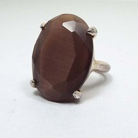 Size 9 Vintage Statement Ring, Gold Tone Faceted Oval Brown Faux Cats Eye, Retro 1970s 70s, Large Big Ring