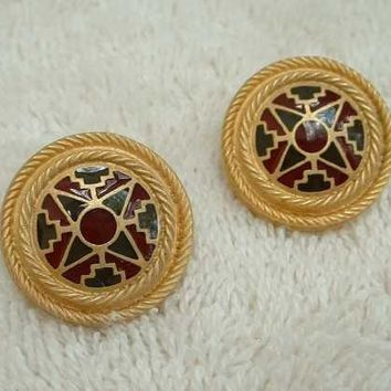 Liberty Signed Champlevé Enamel Post Earrings Retro Art Deco Vintage Jewelry