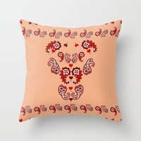 Paisley, Dots and Hearts Throw Pillow by gx9designs