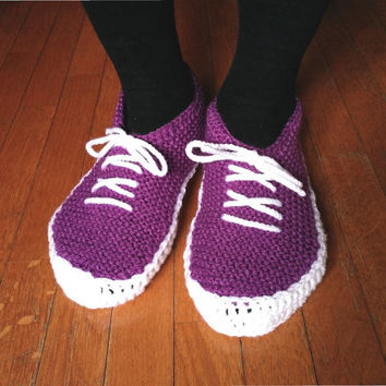 Knit and crochet slippers, adult sneaker slippers, women's slippers, men's slippers, house shoes, any size, in purple or light blue