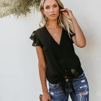 Forever Tonight Button Down Tie Top - Black