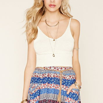 Mixed Print Belted Skirt
