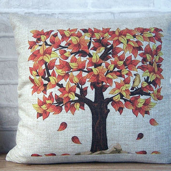 SALE -linen pillow with tree in the fall print - decorative linen pillow with red leaf tree -linen pillow with colorful tree -fall pillow
