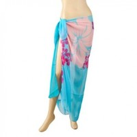 TopTie Swimwear Cover-up Sarong - Lake Blue with Floral Print