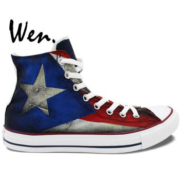 Puerto Rican Flag High Top Painted Custom Canvas Shoes Men Women's Sneakers Boys Girls Gifts Hand Painted Art Wen
