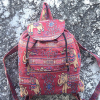 Backpack Aztec Ikat Tribal Elephant Printed Woven Boho Hippie Design Nepali Handwoven Patterns Handmade Bags For Beach School Laptop Travel