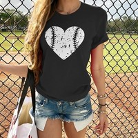 Women's Love Baseball Print T-Shirt