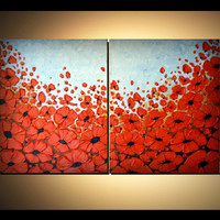 ORIGINAL Modern Fine Art, Spring time, Red Poppies Acrylic Painting, Home Decor, Abstract Textured Artwork 32x20 great gift for mom