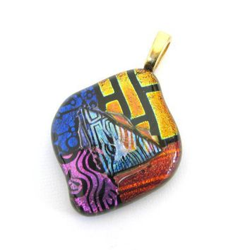 One of a Kind Dichroic Glass Pendant Slide by mysassyglass