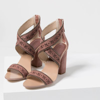 LASER-CUT LEATHER HIGH HEEL SANDALS