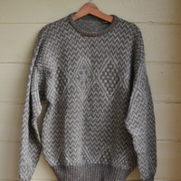Vintage 80s Men's Pullover Sweater Knit Wool Sweater Beige Wool Sweater Size Medium - Large