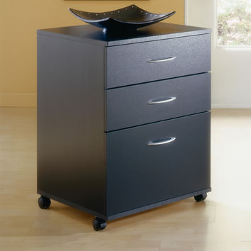 3-Drawer Home Office Filing Cabinet with Casters in Black Wood Finish