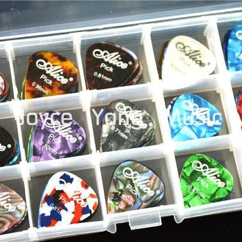 100pcs Alice Pearl Celluloid Acoustic Electric Guitar Picks Plectrums+1 Large Plastic Picks Holder Case Box Free Shipping