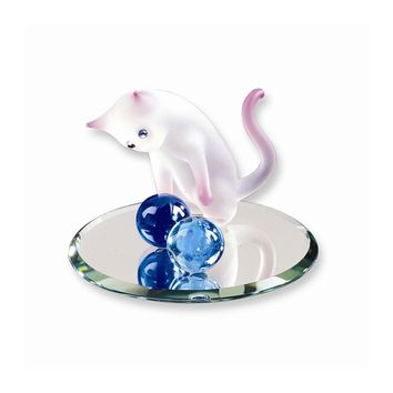 Frosted Cat with Yarn Glass Figurine