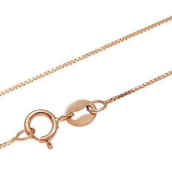 14K ITALIAN SOLID PINK ROSE GOLD 0.6MM BOX CHAIN NECKLACE 16""