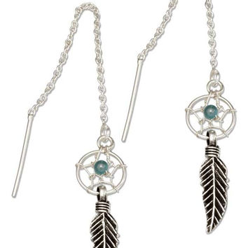 STERLING SILVER DREAMCATCHER EAR THREAD EARRINGS WITH SIMULATED TURQUOISE BEAD
