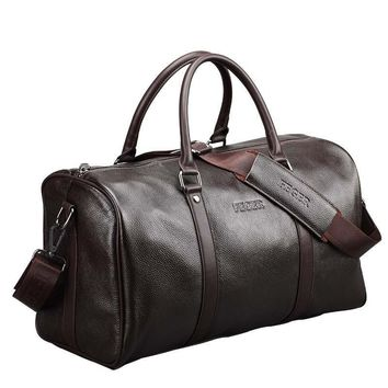 Extra Large Genuine Leather Business Men/Womens Travel Bag Popular Design Duffle