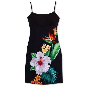 tropic hawaiian short spaghetti dress