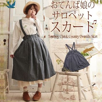 Spring Forest Preppy Style Loose Grey Plaid Skirt Women Japanese Mid-calf Mori Girl Vintage Buttons Kawaii Overalls Skirts V050