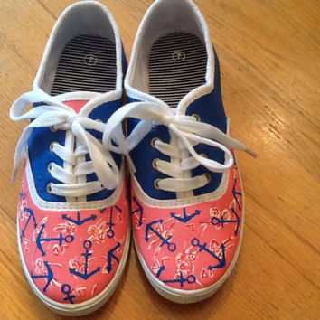 "Hand Painted Lilly Pulitzer Inspired Shoes ""Delta Gamma"" Greek Print"