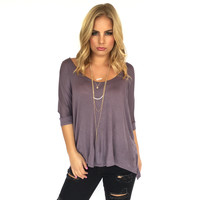 Freedom Jersey Short Sleeve Blouse In Plum
