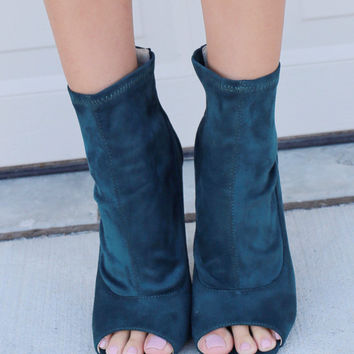 Velvet Crush Peep Toe Peacock Booties