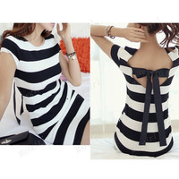 Black And White Horizontal Stripes Bow Short Sleeves Bodycon Mini Dress