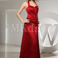Red Floor-Length Criss-Cross Satin A-Line Formal Dress for Bridesmaid, Prom, Homecoming, Cocktail