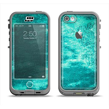 The Grungy Teal Chipped Concrete Apple iPhone 5c LifeProof Nuud Case Skin Set