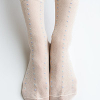 Women New Hezwagarcia Japanese Collection 100% Nylon Super Cozy Cute Dots Sheer Sheen Ruffle Elegant Ankle Socks Stocking Hosiery in Peach