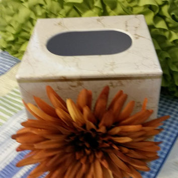 Up-Cycled Cottage Chic PLASTIC Small Tissue Box Holder With Huge Rust Flower at an Accent