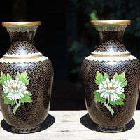Pair of Cloisonne Vases Chrysanthemum Flowers and Birds Black