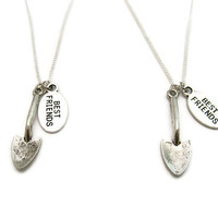 Trowel Necklace Shovel Necklace Set Best Friend  Gardening Necklace  Trowel Jewelry Garden Necklace Gardener Necklace Shovel Jewelry
