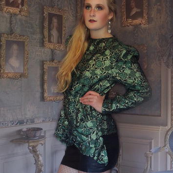 Vintage emerald brocade top / shimmering metallic trophy piece with gold detailing and a huge side bow / 80s glamour
