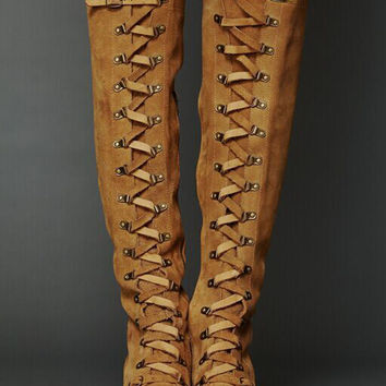Wheat Suede Strappy Front Buckle Detail Over the Knee Boots