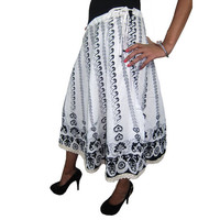 Mogulinterior Indian Hippie Gypsy Skirt White Floral print Cotton Peasant Causal Wear Skirts
