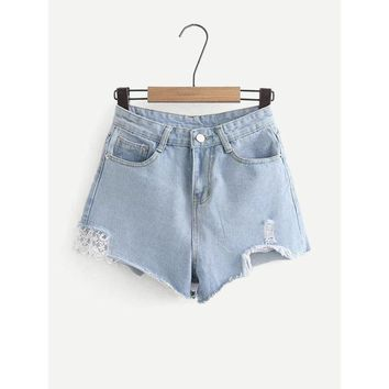 Contrast Lace Raw Hem Denim Shorts