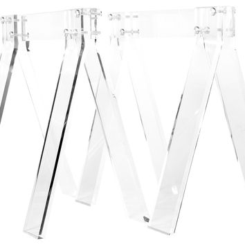 Dining Table, Muse Trestle Base, Clear, Acrylic / Lucite
