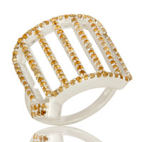 925 Sterling Silver Cutout Dome Ring Studded With Citrine Gemstone