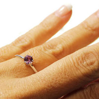 Dainty Alexandrite Ring, Sterling Silver Ring With Small Stone, June Birthstone Ring