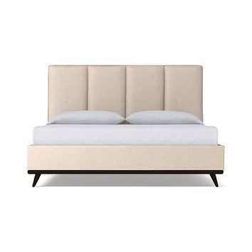 Carter Upholstered Bed VEGAN LEATHER :: Leg Finish: Espresso / Size: Queen