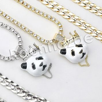 "Iced Out Micro Pave Iconic Cute Panda Pendant w/ 18"" Tennis / 30"" Cuban Chain"