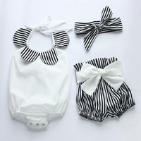 baby rompers 2016 hot sell white and black strip baby romper set newborn baby clothes boutiques baby girls vintage floral romper
